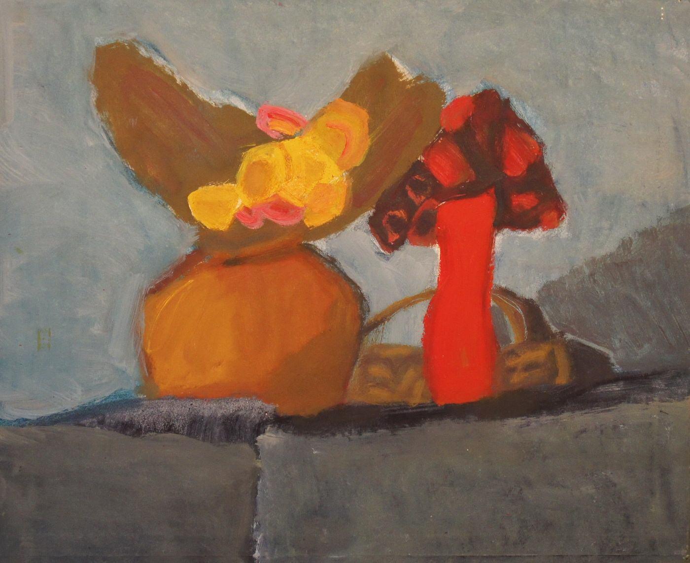 Виктор Дынников. Кукольный натюрморт. 1990-е гг., Оргалит, масло, 55х65