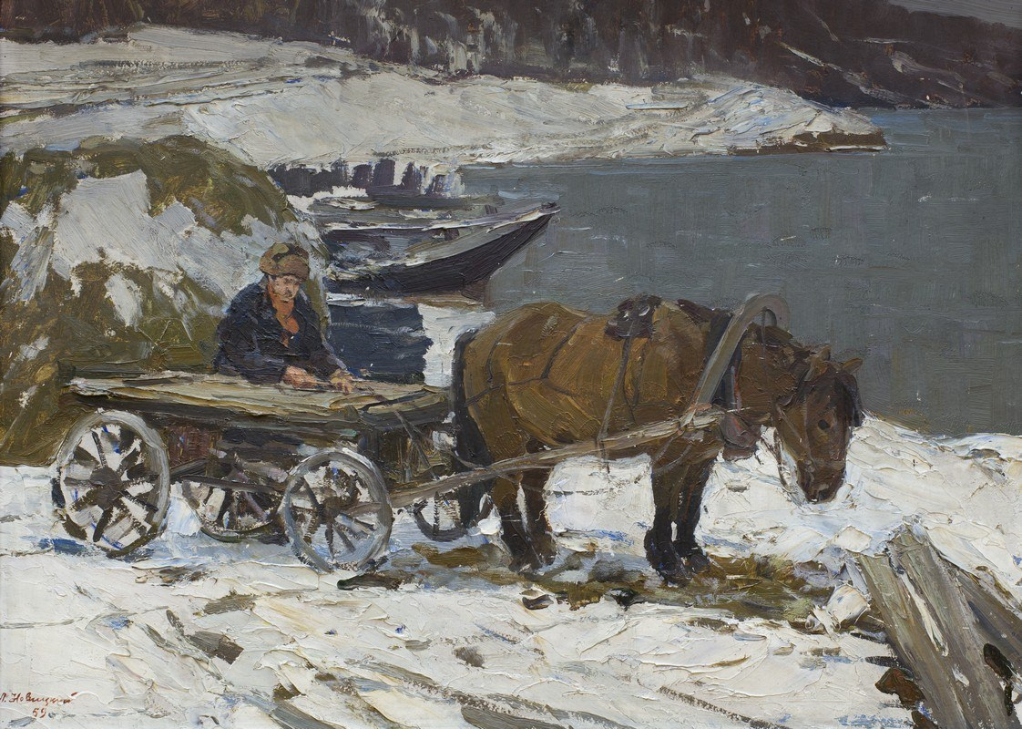 Новицкий Л. С. Лошадь на Байкале. 1959. Холст, масло