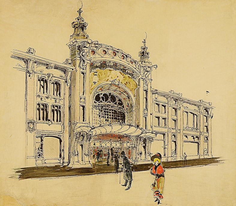 Театр в доме В.Н. Гирш. Проект фасада. И.А.Иванов-Щиц. 1899