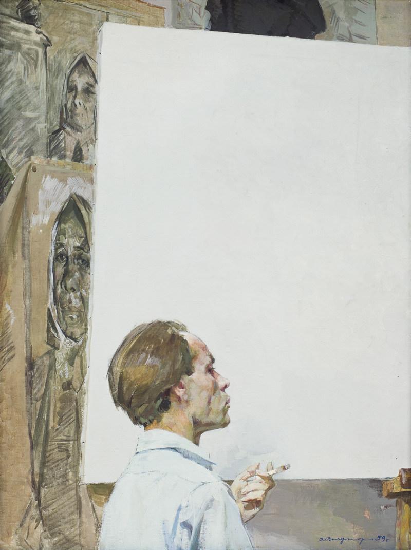 Вычугжанин Аркадий Иванович (20.12.1929–1984). Автопортрет. 1959. Холст, темпера. 116 × 86