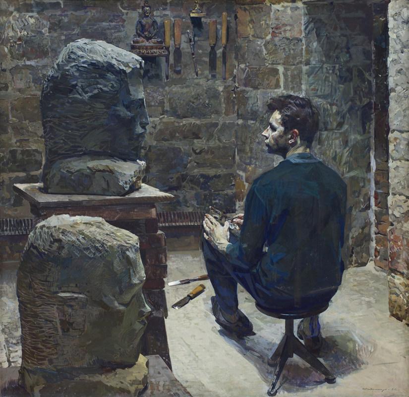 Вычугжанин Аркадий Иванович (20.12.1929–1984). Портрет скульптора Ряшенцева. 1966. Холст, масло. 190 × 195