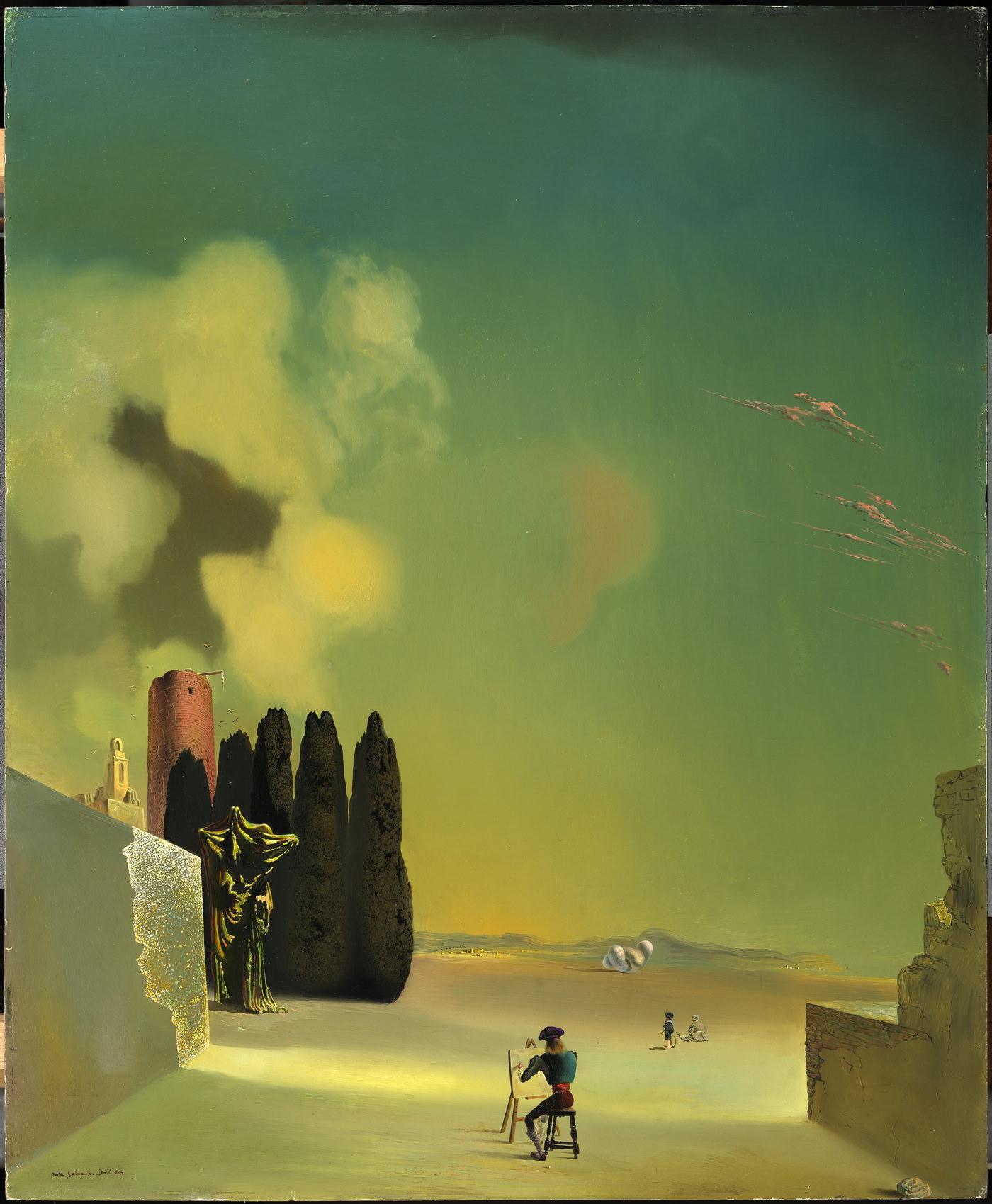 Пейзаж с загадочными элементами. 1934. Дерево, масло. 72,8 х 59,5 см. Фонд «Гала – Сальвадор Дали»