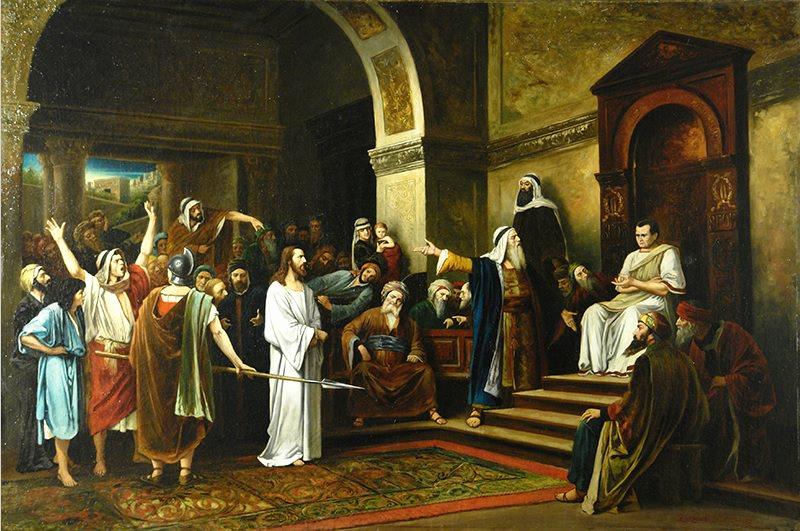 """The exhibition of one painting """"Mihai Munkachi (1844-1900)"""" Christ before Pilate """"II p. XIX century."""""""