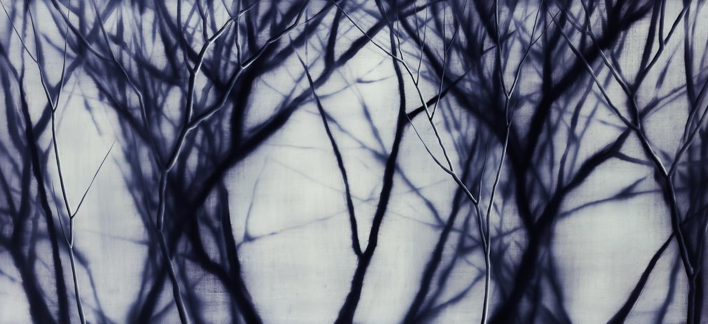 Мош Каши, Фиолетовый лес, 2014. Холст, масло, 240x110 см. Фотография предоставлена галереей Noga, Тель-Авив
