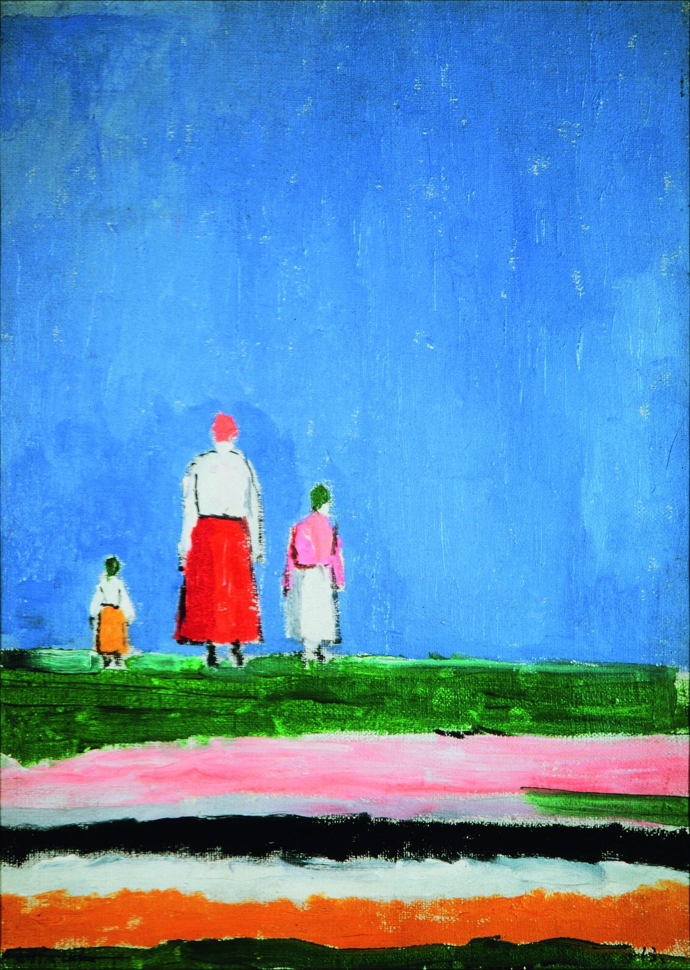 Казимир Малевич. Три фигуры в поле. 1928–1930. Холст, масло. 37 х 27 см. Собрание Валерия Дудакова и Марины Кашуро