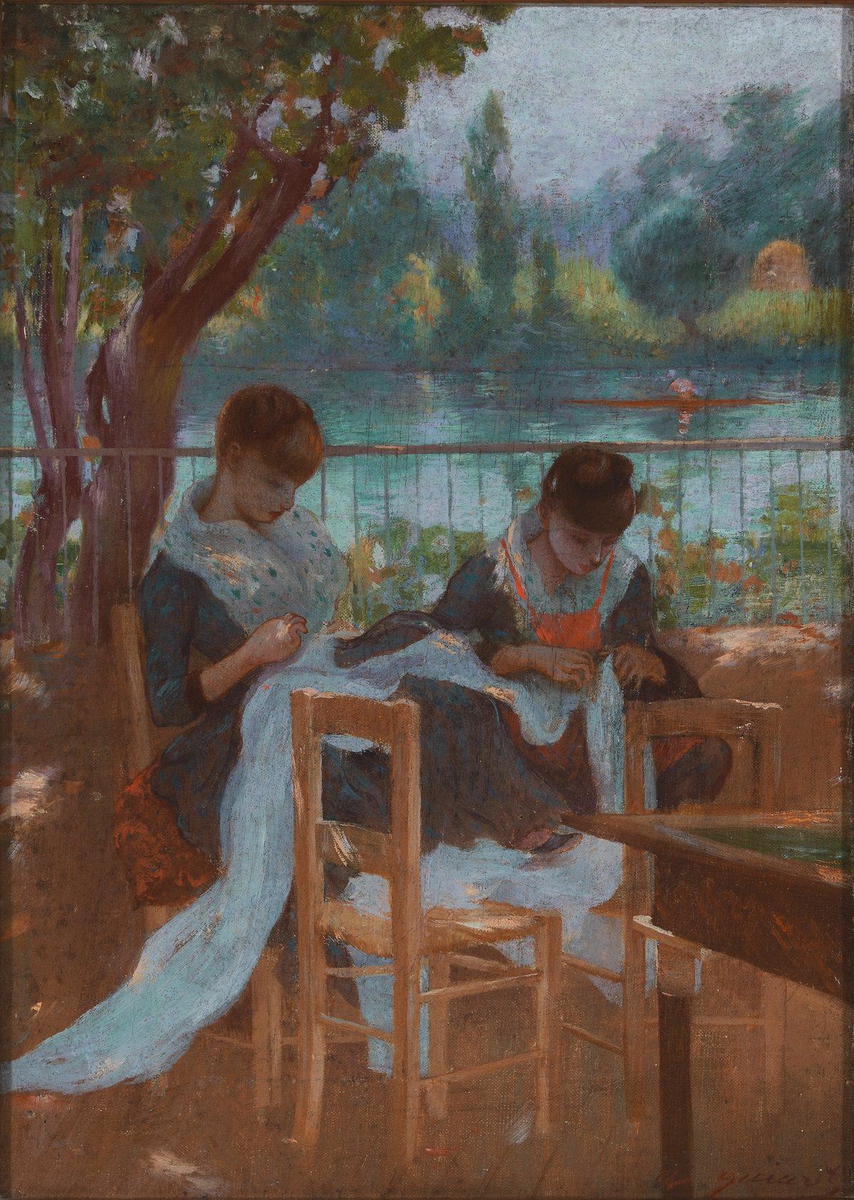 Адольфо Гийярд. Портнихи в парке. 1884-1885. Коллекция Ибердрола, Бильбао