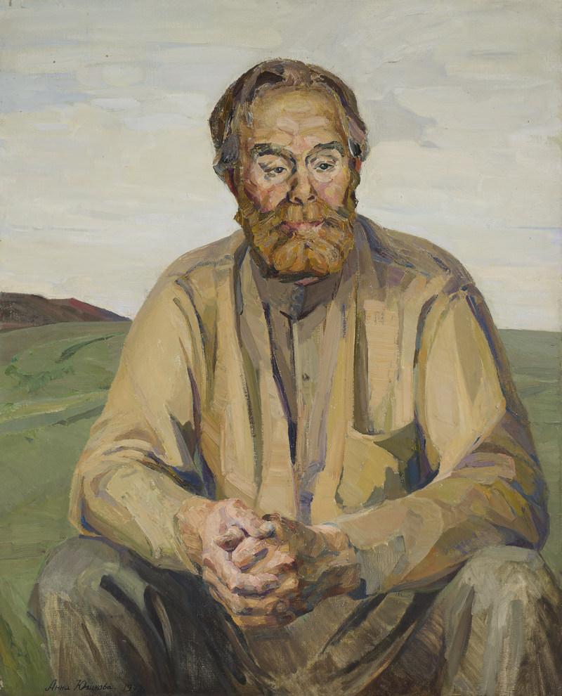 Анна Юшкова. Портрет колхозника из Куйтуна Олимпия Китаева. 1979