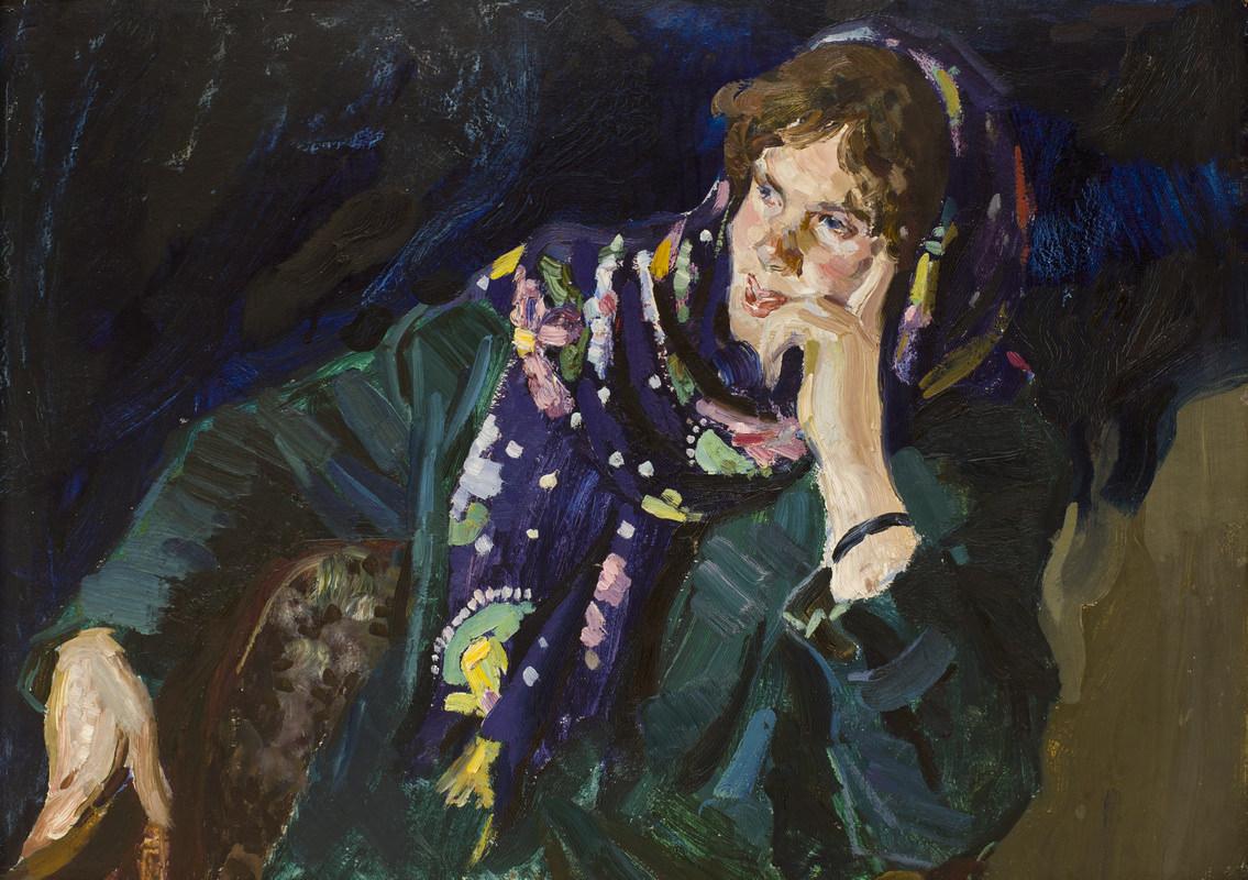 Алексеев Анатолий Иванович (23.1.1929). Гостья. Картон, масло. 49 × 69,5