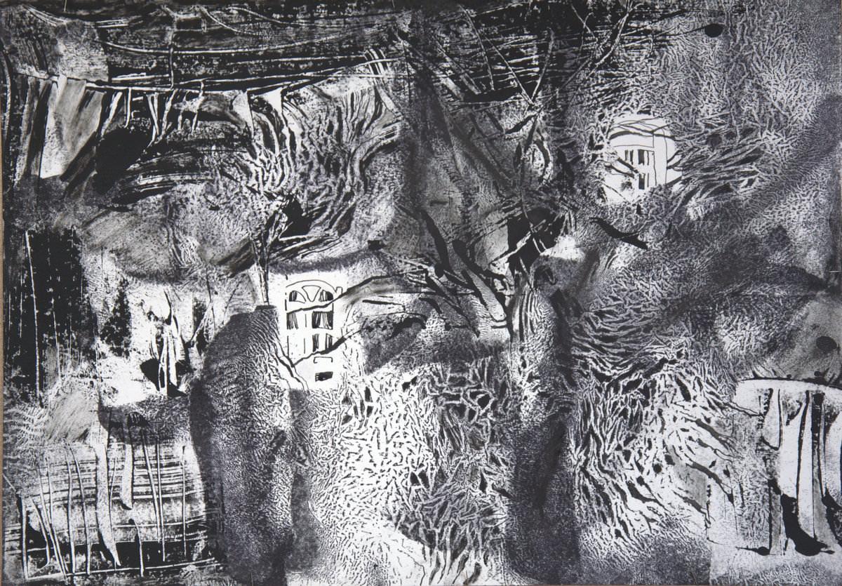 Уварова Светлана Николаевна, Ветренный вечер в Иркутске, 2016, авторская техника, бумага, тушь, 42-59