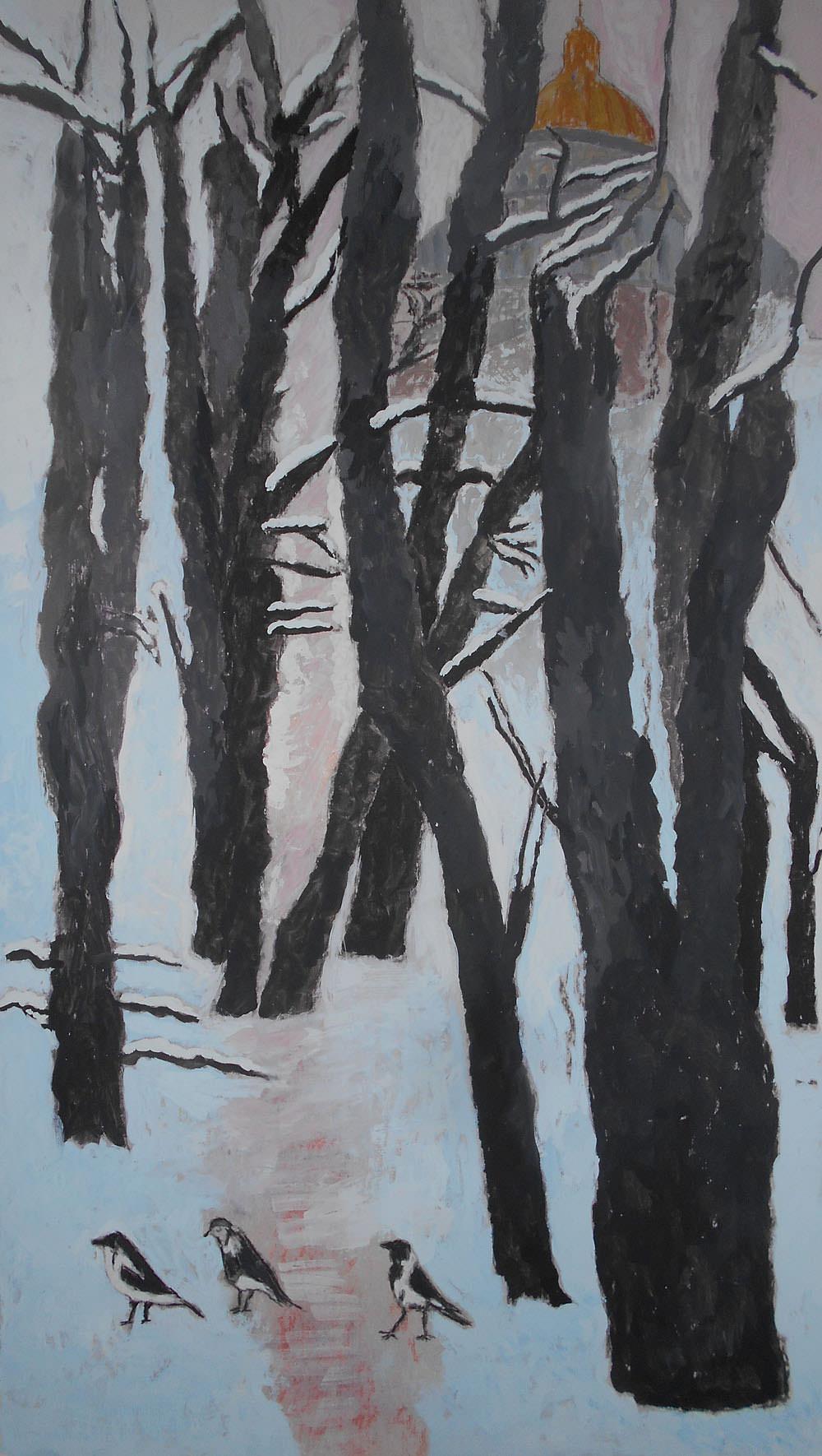 Три петербургские вороны. 2016.Картон, смеш.техника,, 68х38,