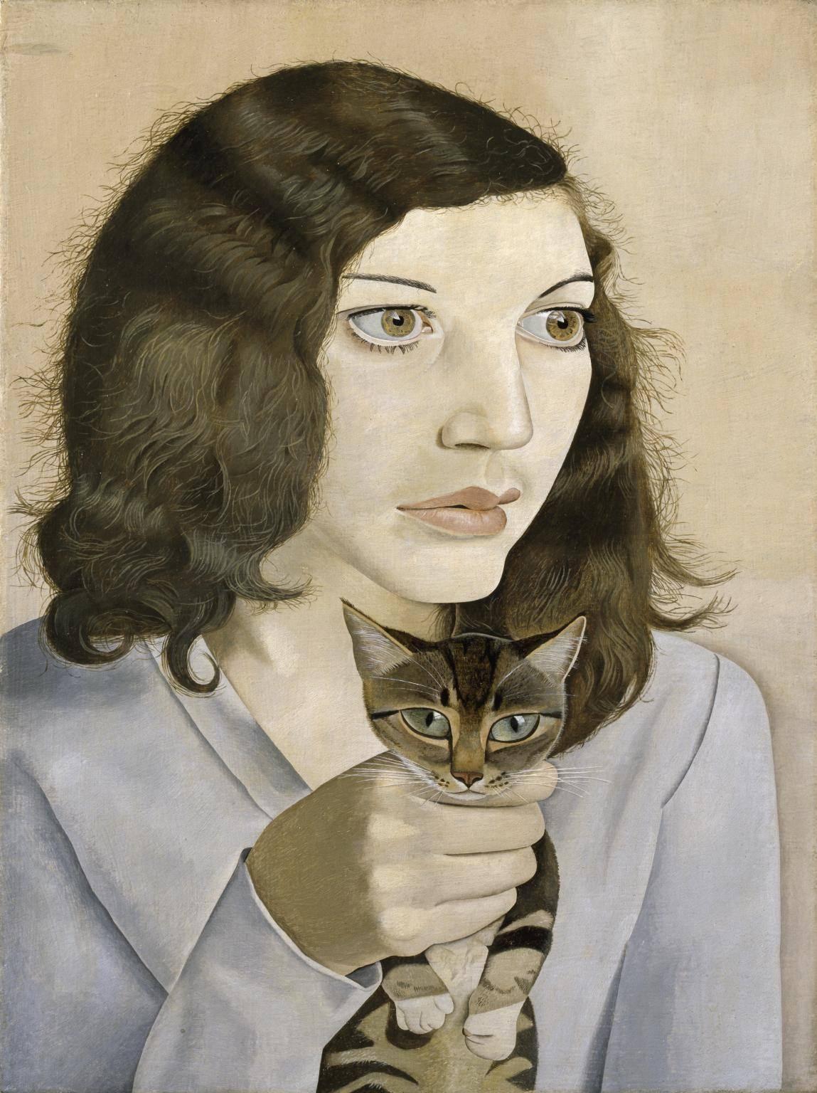Люсьен Фрейд Девушка с котенком, 1947.