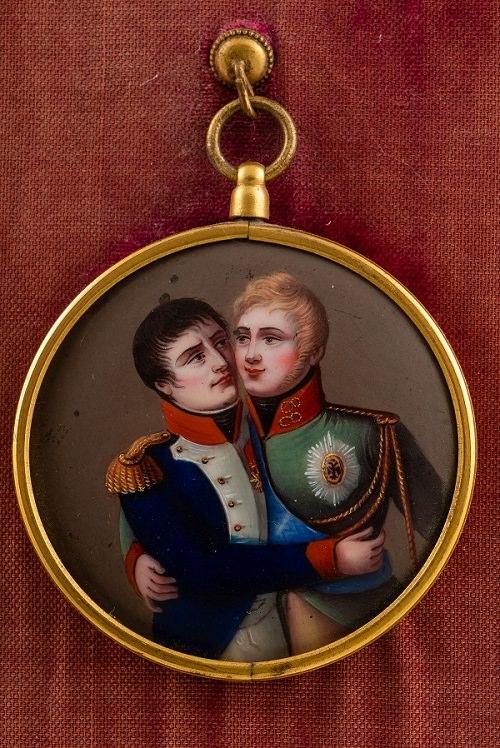 Два императора. Встреча Александра I и Наполеона I в Тильзите. Металл, цветная эмаль. Франция. 1807