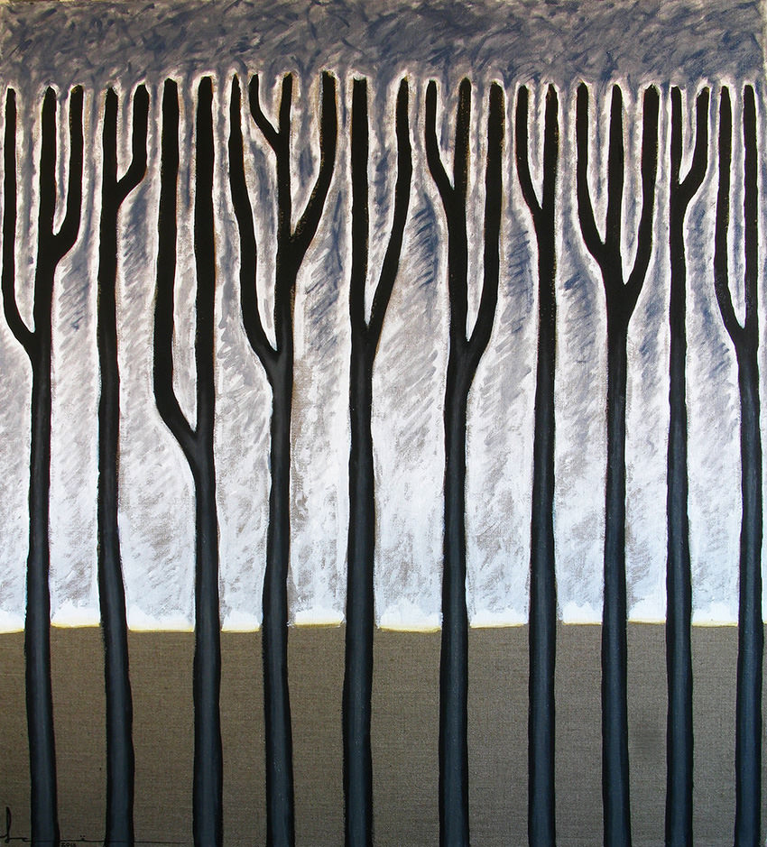 Илья Серегин. Тополя М, 2018. Холст, акрил, масло, 100х90 Courtesy of the East Meets West Gallery