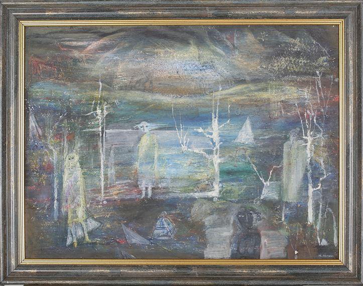 Ю. Лапшин. Эскиз к спектаклю Вдовий пароход. 1985