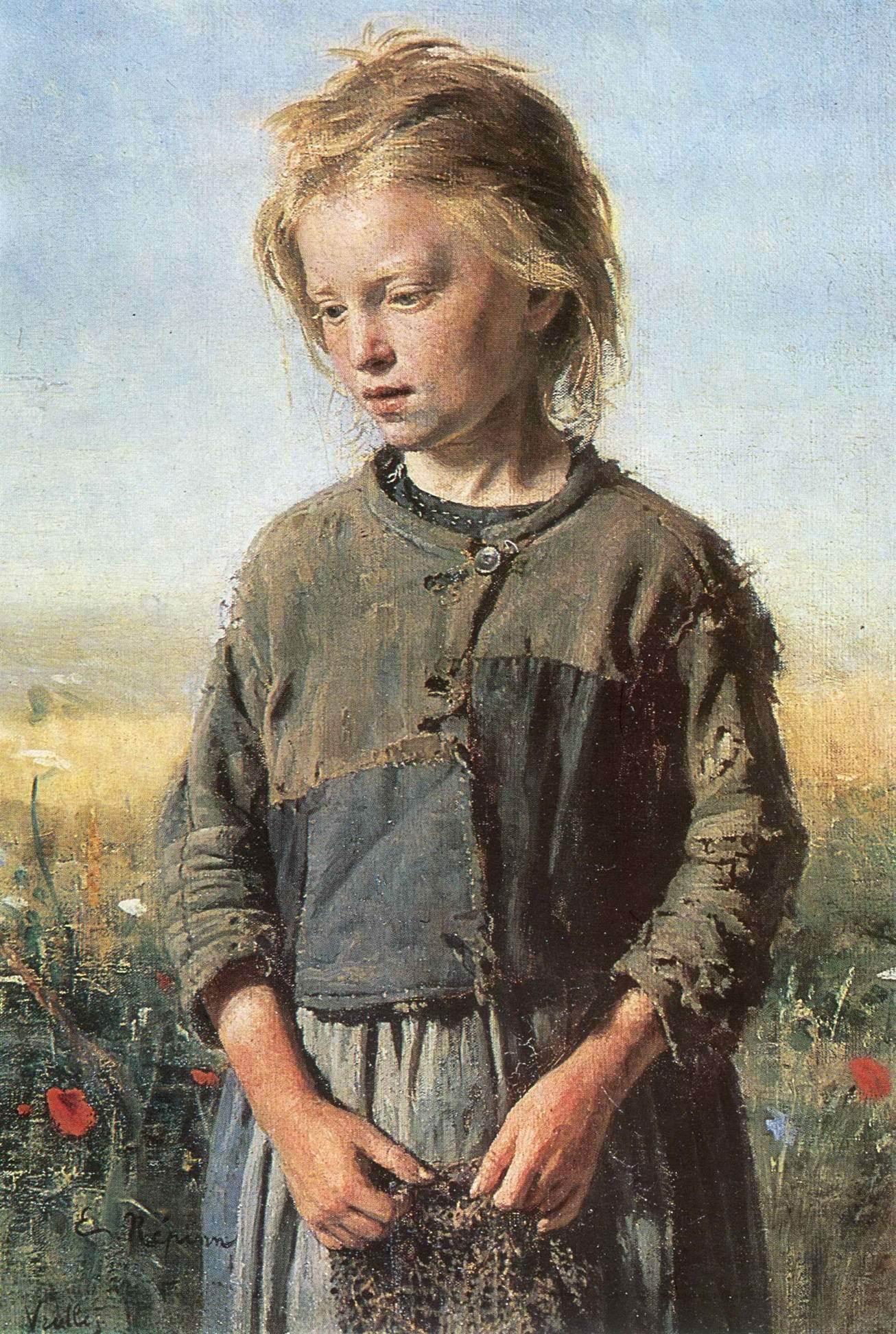 Илья Репин. Нищая Девочка-рыбачка. 1874