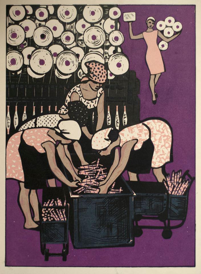Б.А. Аверьянов, И.Л. Шкубер. Цветная линогравюра. Ситцы. 1960-е гг. Частное собрание