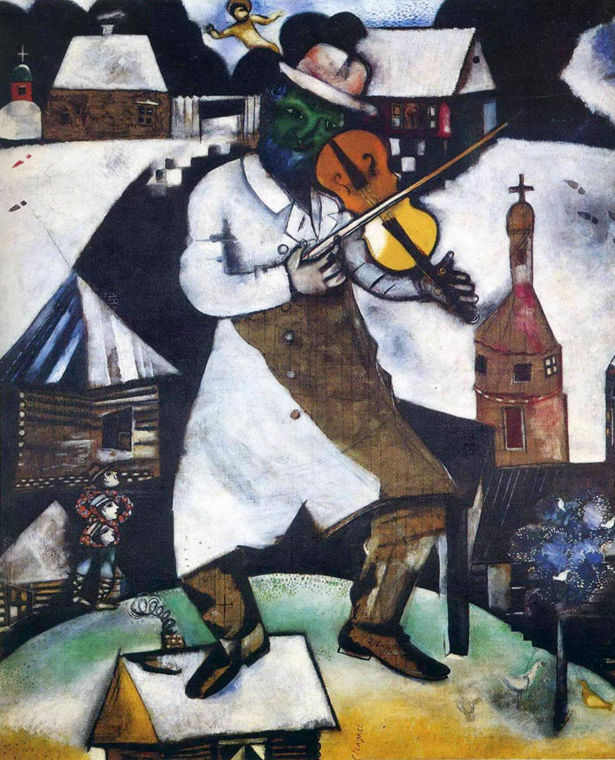 "The famous ""Violinist"" Chagall written on a tablecloth"