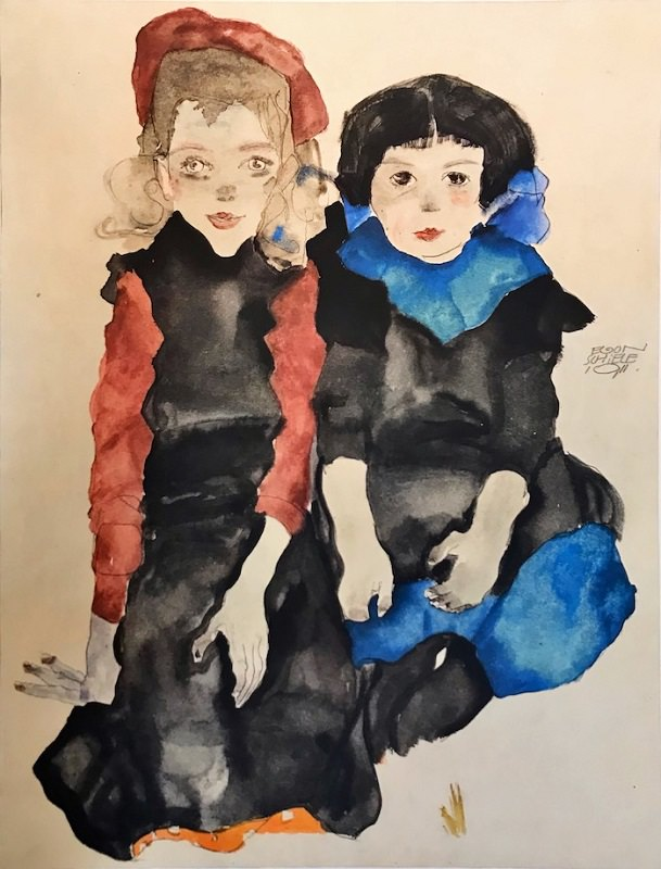 Эгон Шиле. Две маленькие девочки. Литография