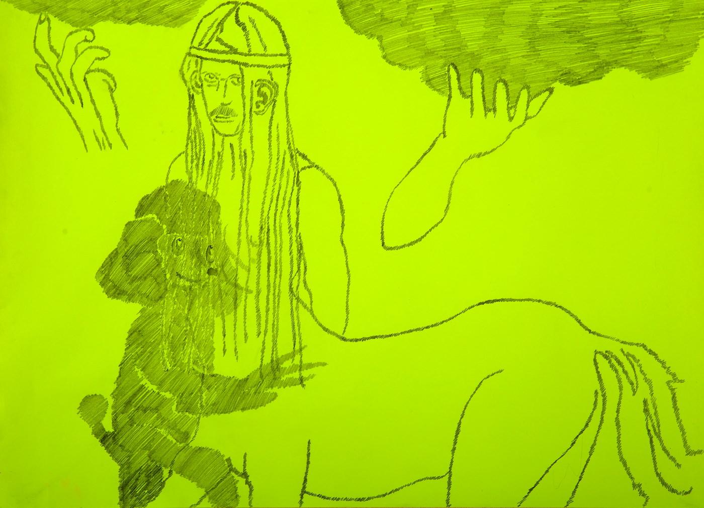Юлия Застава. Без названия. 2019. Флуоресцентная бумага, карандаш