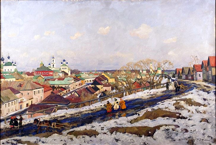 """Exhibition of one painting by Konstantin Fedorovich Yuon (1875 - 1958) """"In the provinces. City of Torzhok"""""""