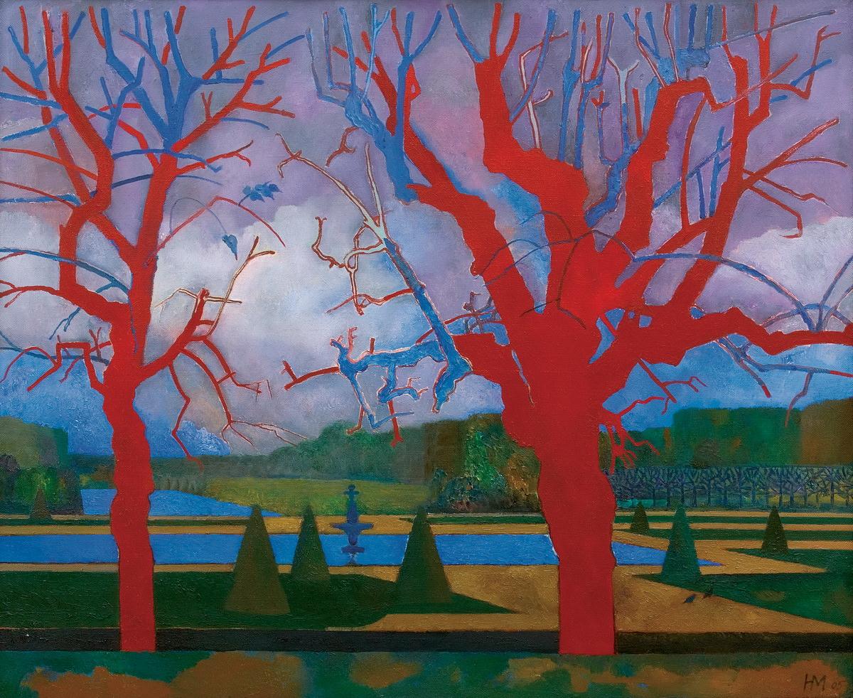 Н. Медведев. Красные деревья. Fontainebleau. 2005. Холст, масло.