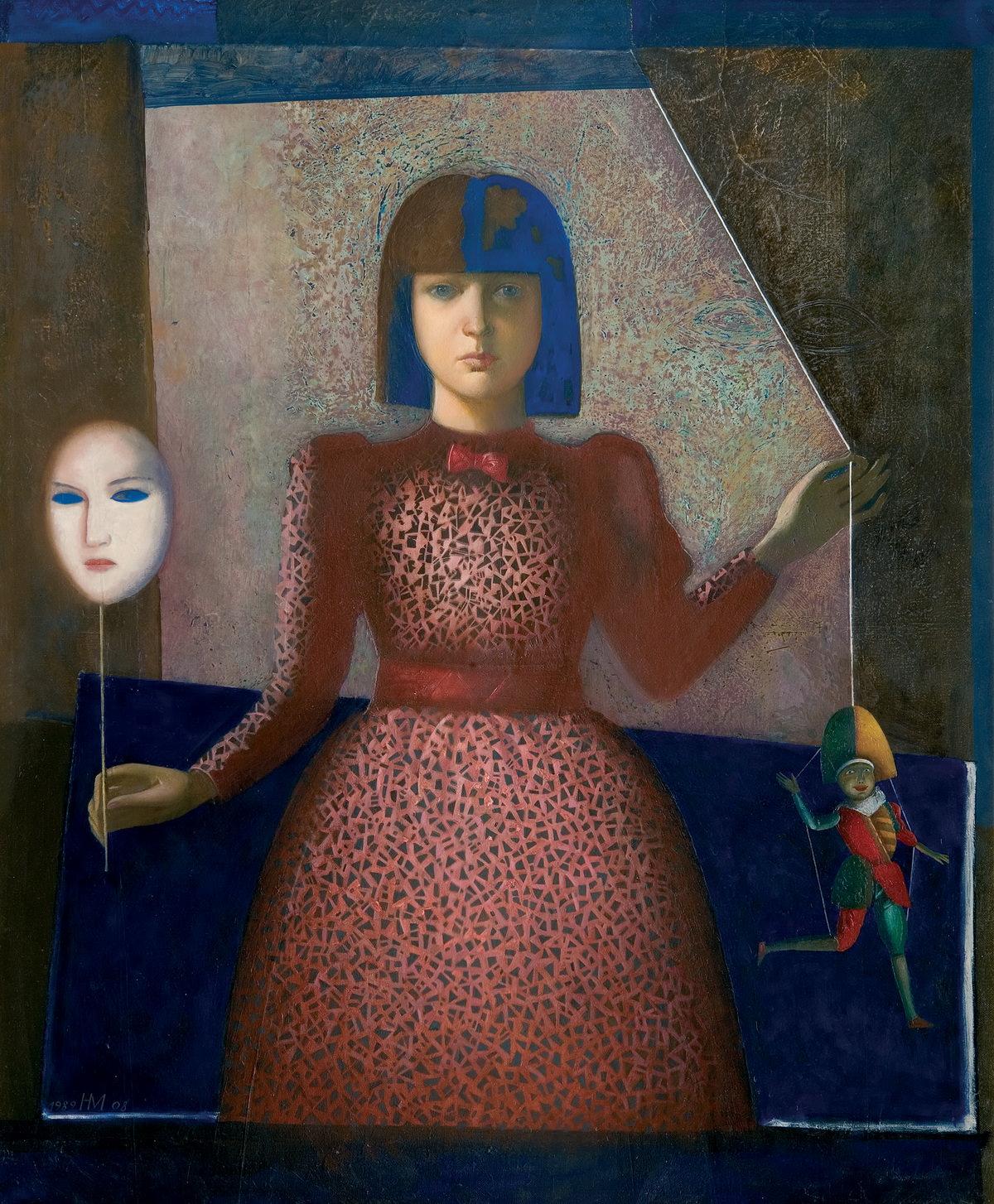 Н. Медведев. Портрет Лизы с маской. 1989–2008. Холст, масло