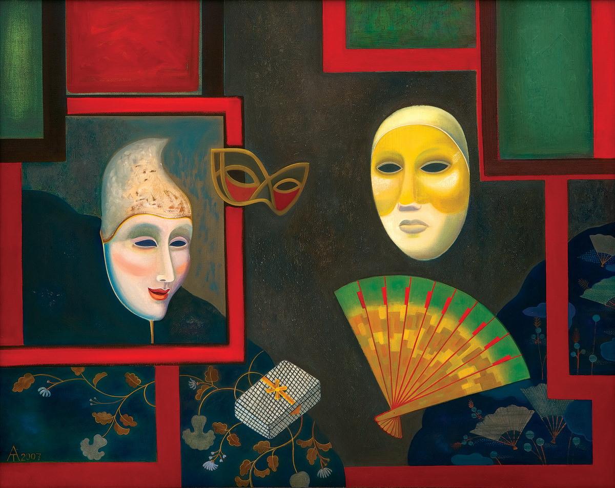Т. Алексеева. Натюрморт с масками. 2007. Холст, масло.