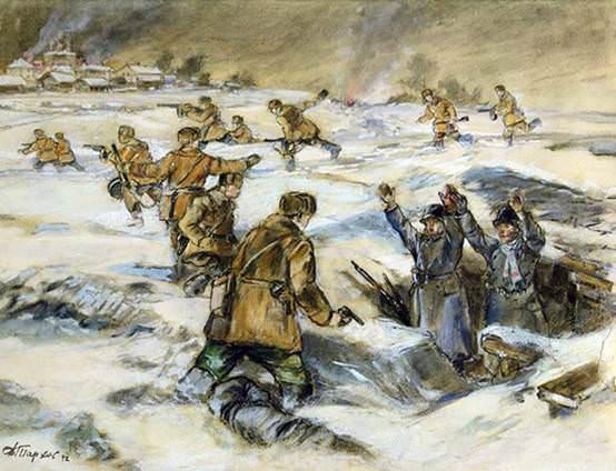 "Exhibition of one painting by Dmitry Mikhailovich Tarkhov (1893-1948) ""Taking Kaluga"" (1942)"