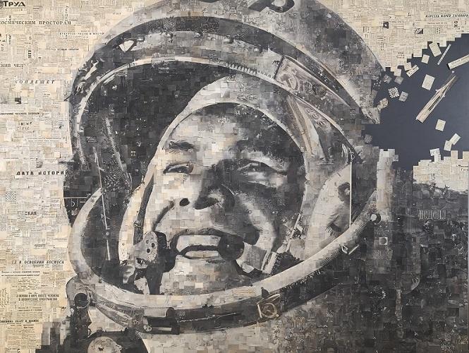 """Алексей Бегак. """"Гагарин"""".Коллаж. Газеты за 13.04.1961"""