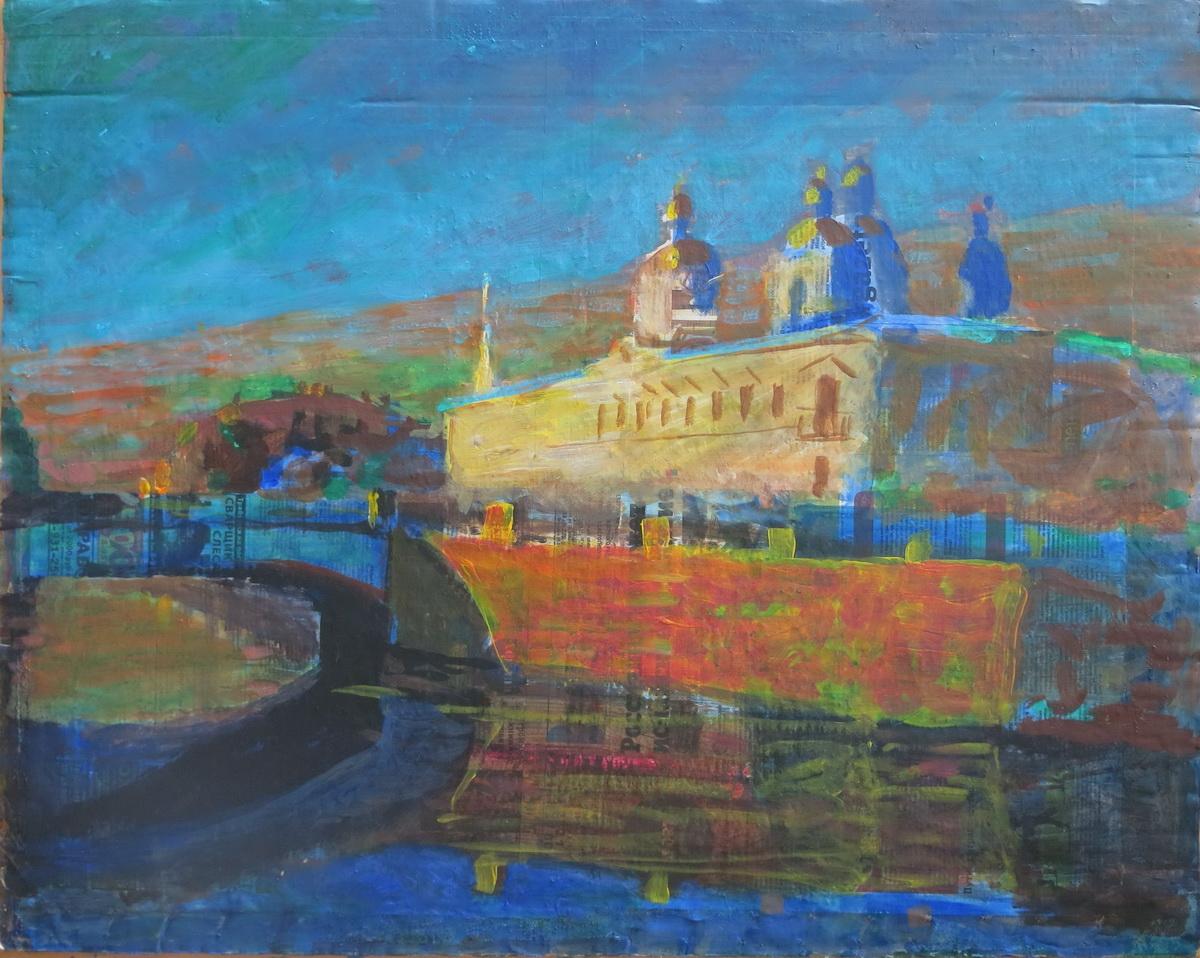 Канал Грибоедова. 2018 г. Картон, масло, размер 65 х 80