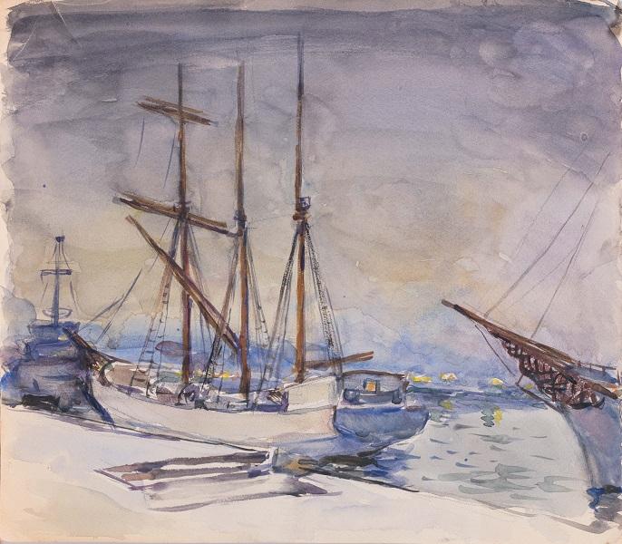 Петр Кончаловский. Вечер в порту. Бумага акварель, графитный карандаш 31x35,2