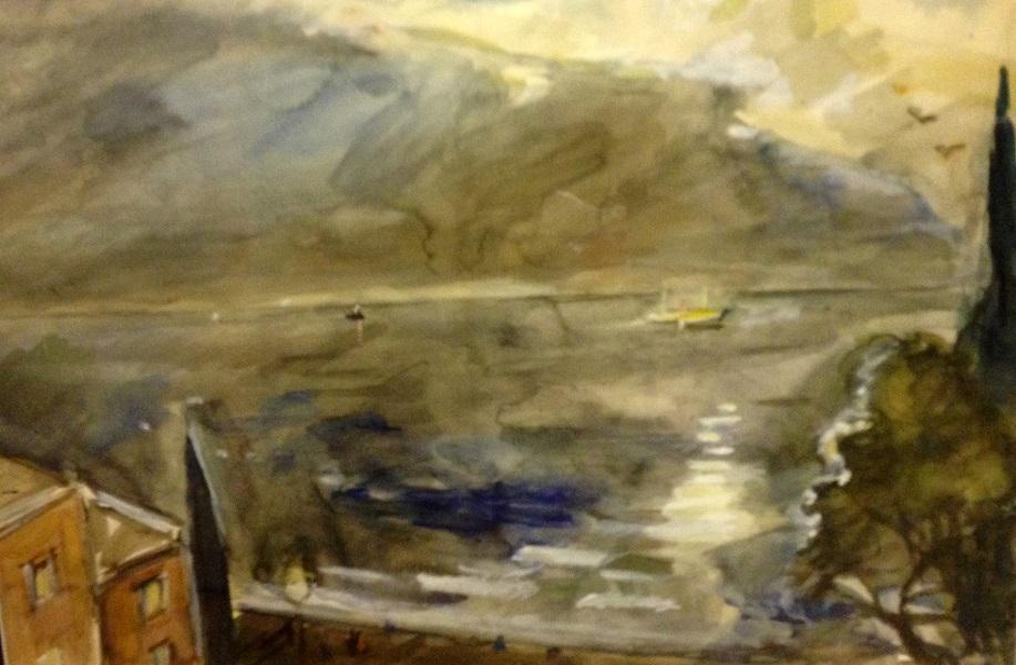 А.Лабас. Ялта. Море. 1941.Бумага, акварель,белила. 42х62,5