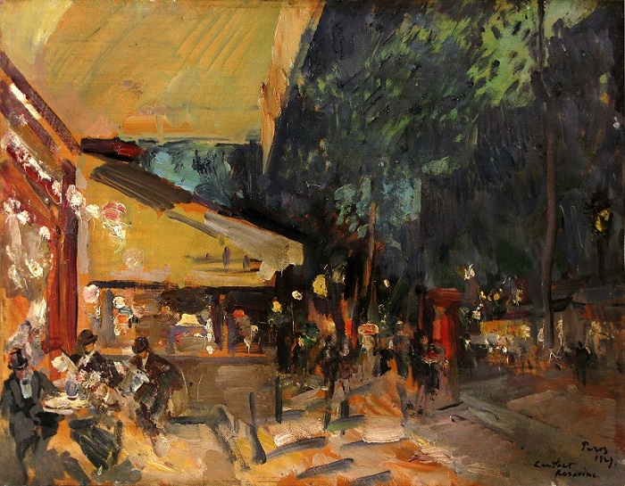 Константин Коровин. Париж Ночное кафе. 1929. Доска масло