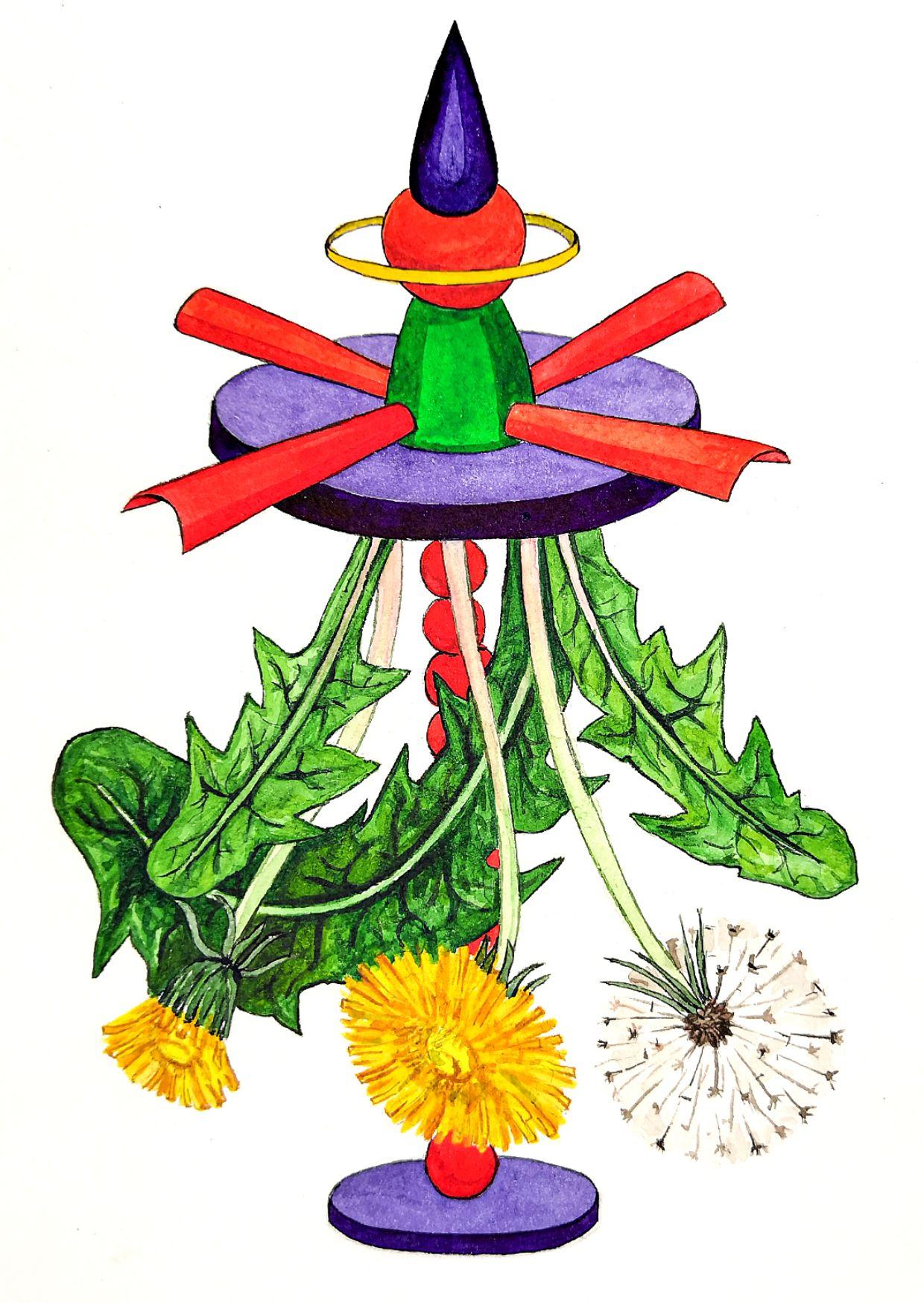 Юлия Шафаростова, из серии «Проекты неработающих фонтанов Бачикистана», 2020, акварель, акварельная бумага, 210х148 см