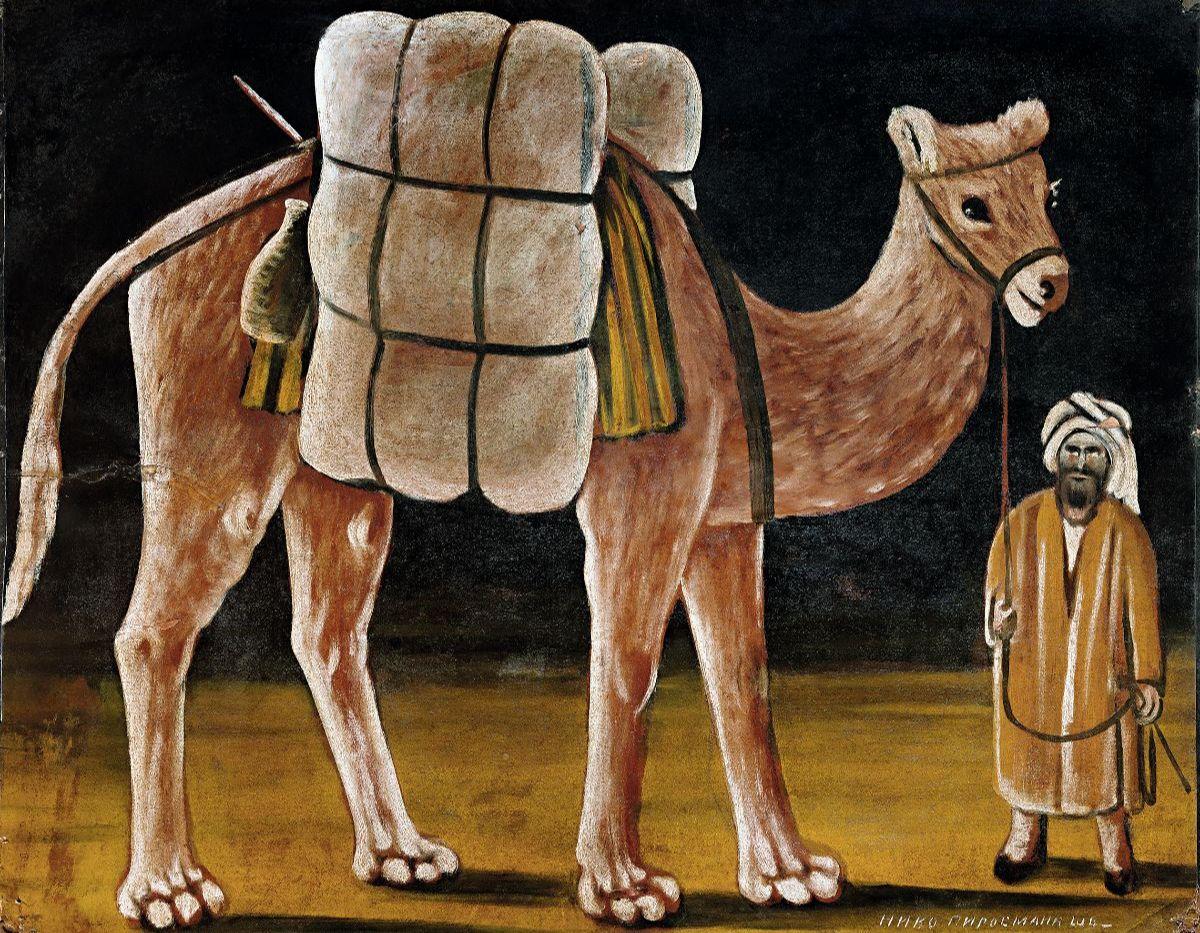 Пиросмани Нико. Погонщик с верблюдом. 1910-е. Собрание И. Г. Сановича. Ныне в частном собрании