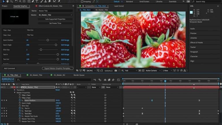 Интерфейс Adobe AfterEffects