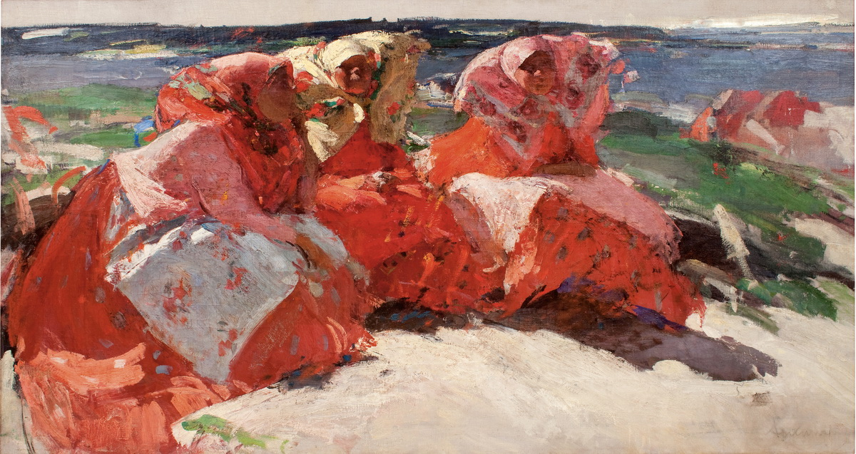 АБРАМ АРХИПОВ (1862-1930). «Крестьянки на берегу». Холст, масло, 100.5 x 189 см